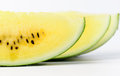 Slice yellow watermelon isolated on white Royalty Free Stock Image