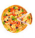 Sliced ​​pizza isolated on white Royalty Free Stock Photo