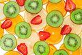 Sliced ​​orange, lemon, strawberry and kiwi Royalty Free Stock Photo