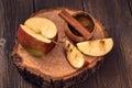Sliced apple and cinnamon Royalty Free Stock Photo