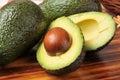 Sliced avocado a on a cutting board Stock Photo