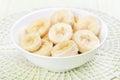 Sliced banana in bowl Royalty Free Stock Photo