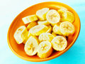 Sliced bananas Stock Photography