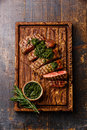 Sliced beef Sirloin steak with chimichurri sauce Royalty Free Stock Photo