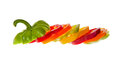 Sliced bell peppers red yellow green and orange Royalty Free Stock Photos