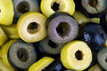Sliced black and green olives Royalty Free Stock Photo