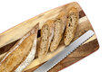 Sliced Bread Stick on Board Top View Royalty Free Stock Photo