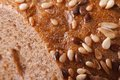 Sliced bread with sunflower seeds and nuts closeup macro Stock Photo