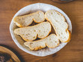 Sliced breads in basket. Royalty Free Stock Photo