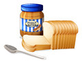 The sliced breads and a bottle of peanut butter illustration on white background Royalty Free Stock Images