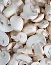 Sliced button mushrooms Royalty Free Stock Images
