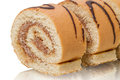 Sliced cake roll close-up Royalty Free Stock Photos
