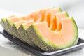 Sliced cantaloupe dish Royalty Free Stock Photo