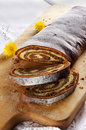 Sliced chestnut cake Stock Images