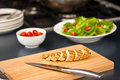 Sliced chicken breast as salad ingredient Stock Image