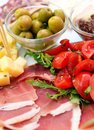 Sliced cold cuts prosciutto olives cheese Royalty Free Stock Photography