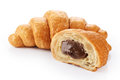 Sliced croissant with chocolate Royalty Free Stock Photo