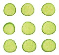 Sliced cucumber pieces isolated Stock Photography