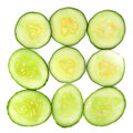 Sliced cucumber white background Stock Photos