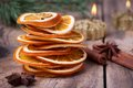 Sliced of dried orange, cinnamon sticks, anise stars and candle with pine brunch