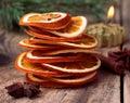 Sliced dried orange, cinnamon sticks, anise stars