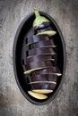 Sliced Eggplant in Black Dish