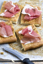 Sliced Focaccia Bread with Parma Ham Royalty Free Stock Photo
