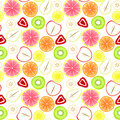 Sliced fruit seamless background with assorted strawberries apples pears kiwi bananas lemons grapefruit and oranges tile Stock Images