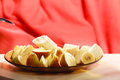 Sliced fruits banana and apple on plate healthy nutrition dieting slimming concept Royalty Free Stock Photography