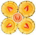 Sliced fruits isolated strawberry pineapple orange and and top view Stock Photo