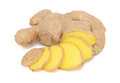Sliced ginger on white background Stock Photos