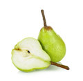Sliced green pear isolated on a white background Royalty Free Stock Photo