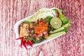 Sliced grilled beef salad , Laab Num Tok in Thai.