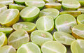 Sliced key limes Royalty Free Stock Images