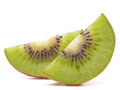 Sliced kiwi fruit segment isolated on white background cutout Stock Photo