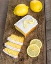 Sliced lemon pound cake with white icing Royalty Free Stock Photo