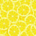 Sliced lemon seamless background riped juicy lemons pattern vector illustration Stock Images