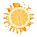 Sliced lemon splash with orange juice isolated Stock Photography