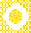 Sliced Lemon on Yellow Tiled Background Royalty Free Stock Photo