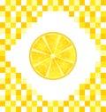 Sliced Lemon on Yellow Tiled Background Royalty Free Stock Photo