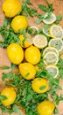 Sliced lemons with green salad on a wooden board - top view Royalty Free Stock Photo