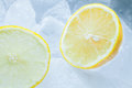 Sliced lemons and ice Royalty Free Stock Photo