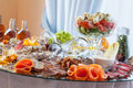 Sliced meat on banquet table a luxury decorated Stock Photography