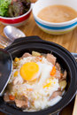 Sliced meat with rice fresh egg gyudon Royalty Free Stock Images