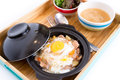 Sliced meat with rice fresh egg gyudon Stock Images
