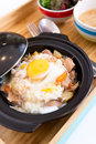 Sliced meat with rice fresh egg gyudon Royalty Free Stock Photography