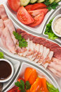 Sliced ??meat and vegetables Stock Photos