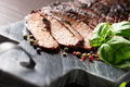 Sliced medium grilled beef steak Royalty Free Stock Photo