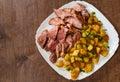 Sliced medium rare grilled Steak Ribeye with potato Royalty Free Stock Photo