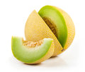 Sliced melon cantaloupe on white background Royalty Free Stock Photos